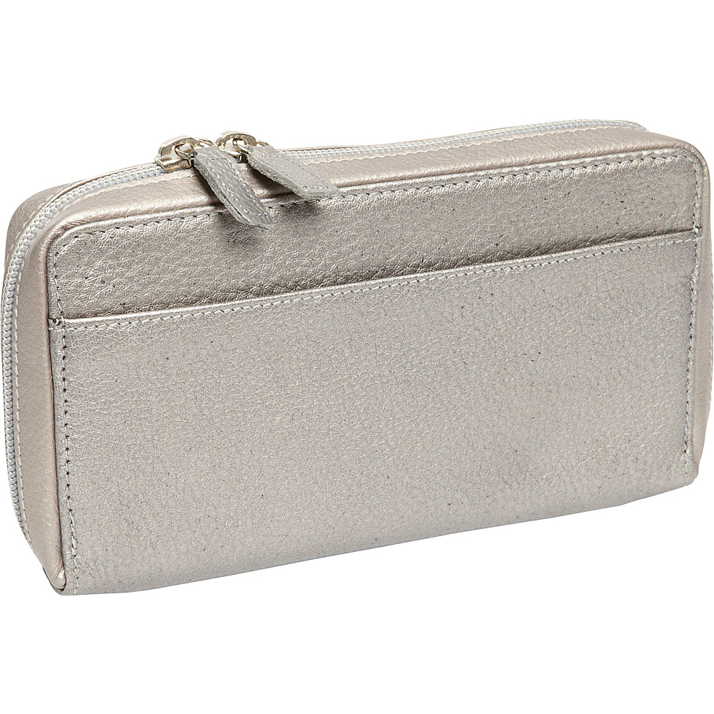 Derek Alexander Large Full Zip Organizer Clutch Wallet Silver - Derek Alexander Womens Wallets - Women's SLG, Women's Wallets