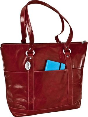 David King & Co. Large Florentine 6 Pocket Shopper Red - David King & Co. Leather Handbags
