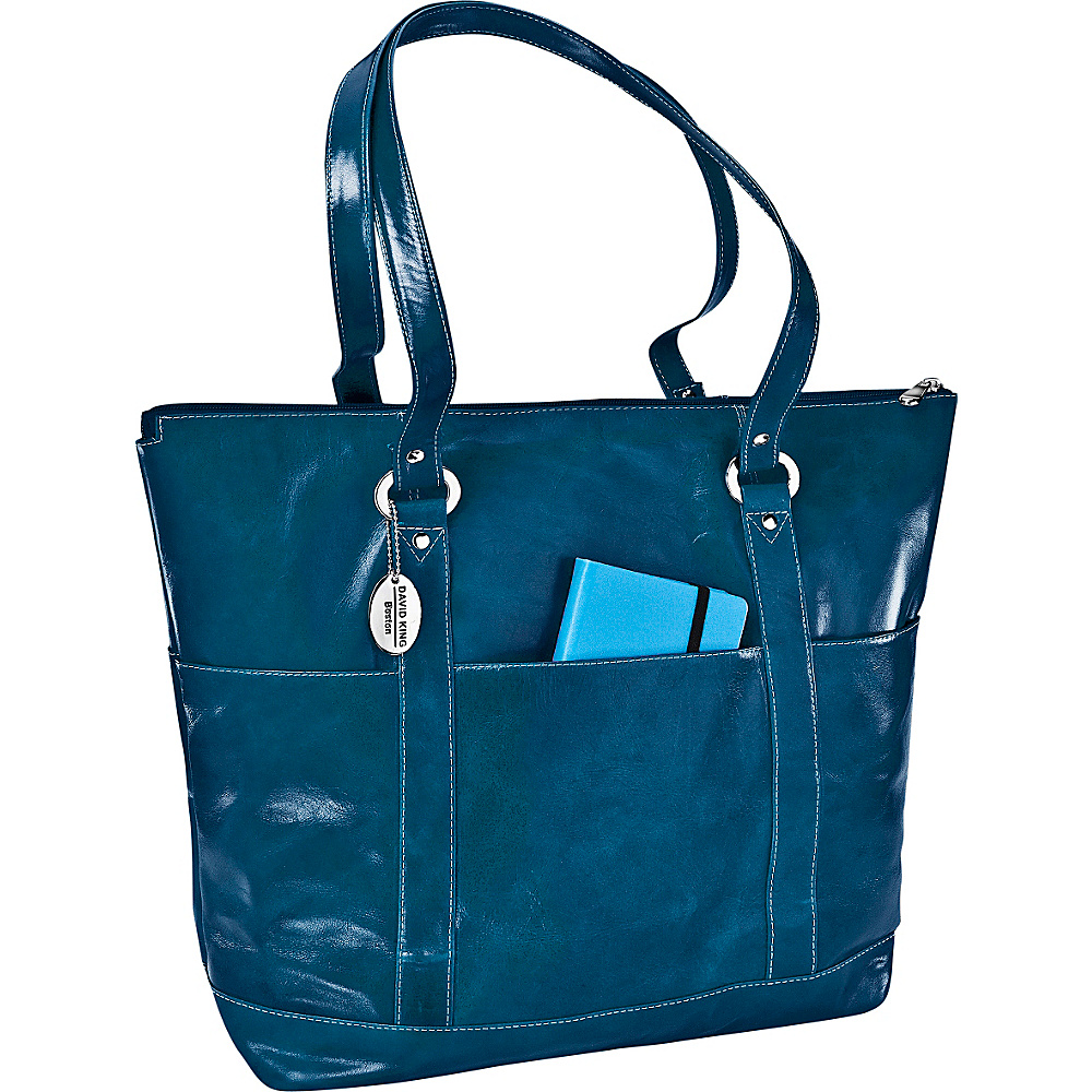 David King Co. Large Florentine 6 Pocket Shopper Blue David King Co. Leather Handbags