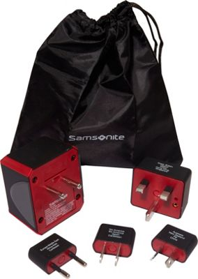 Samsonite Converter/Adapter Plug Kit w/pouch Black/Red - Samsonite Electronic Accessories