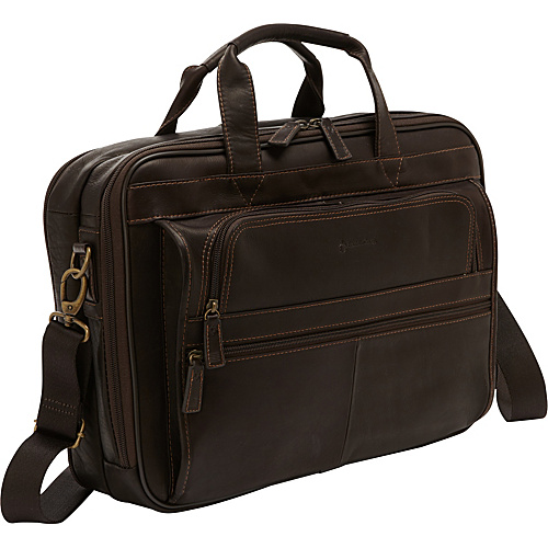 FranklinCoveyBusiness Breckenridge Colombian Leather Laptop Bag - Checkpoint Friendly Brown - FranklinCoveyBusiness Non-Wheeled Computer Cases