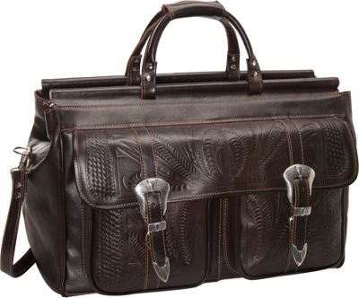 Ropin West 20 inch Leather Weekender Brown - Ropin West Luggage Totes and Satchels