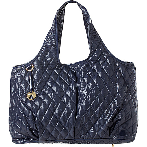 Clava Three Quilted Commuter Tote Navy Quilted Nylon - Clava Fabric Handbags