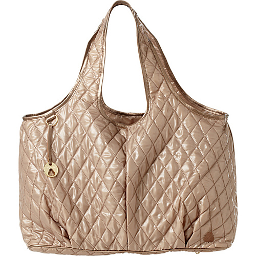 Clava Three Quilted Commuter Tote Gold Quilted Nylon - Clava Fabric Handbags