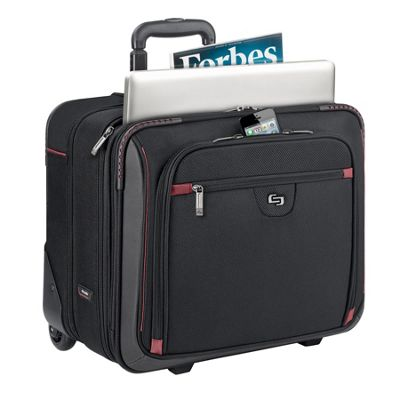 SOLO Execuitve 16 inch Laptop Rolling Case, Overnighter Section Black - SOLO Wheeled Business Cases