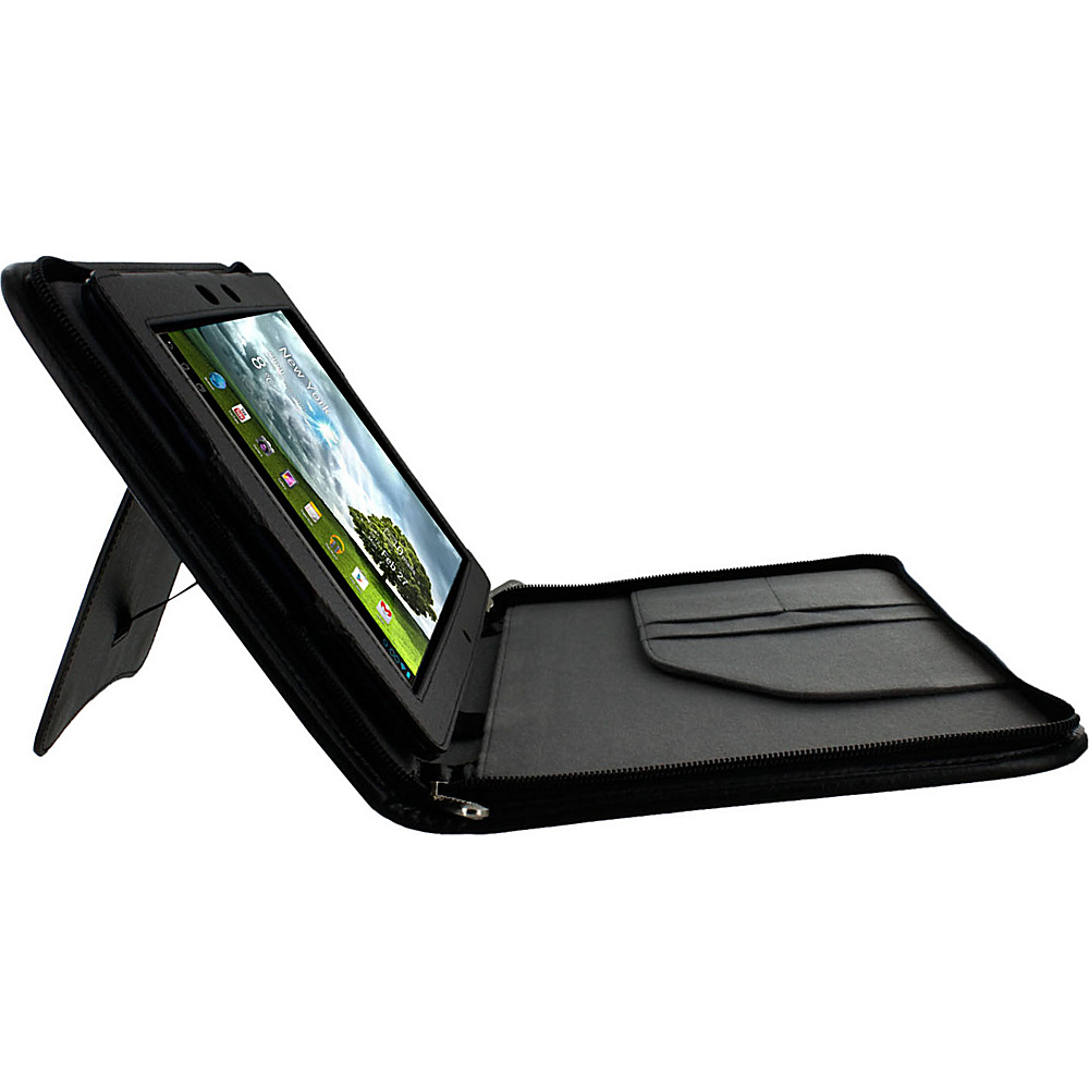 rooCASE Asus MeMO Pad 10: Executive Leather Portfolio Case Black - rooCASE Electronic Cases