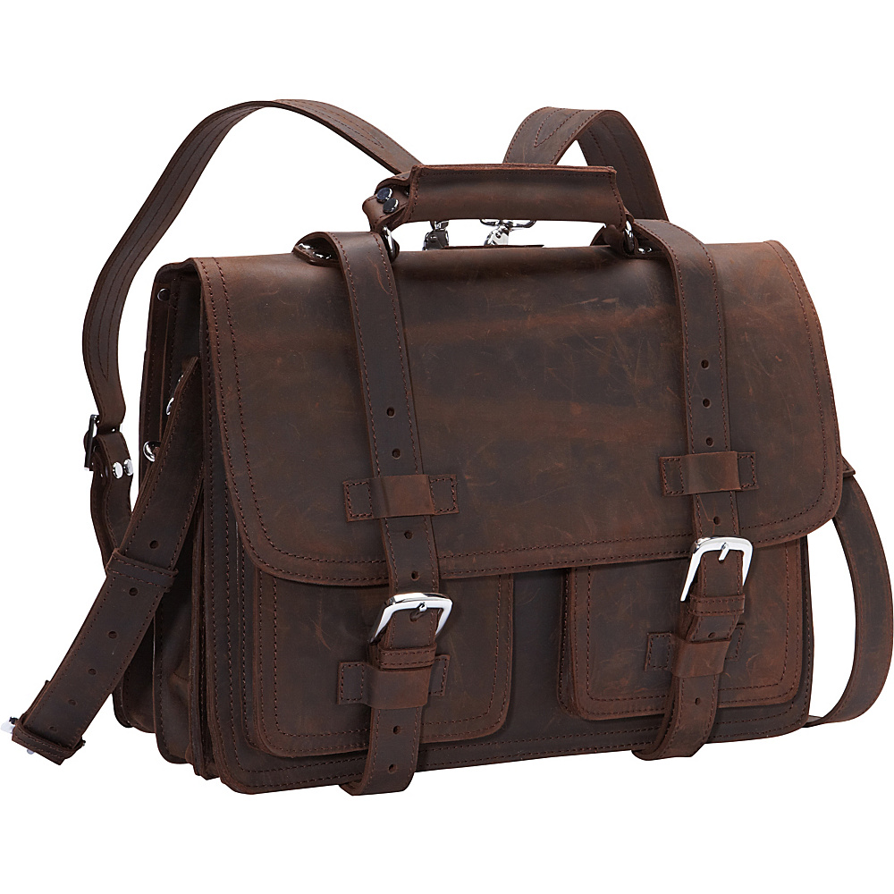 Vagabond Traveler CEO Full Leather Briefcase & Backpack Dark Brown - Vagabond Traveler Non-Wheeled Business Cases