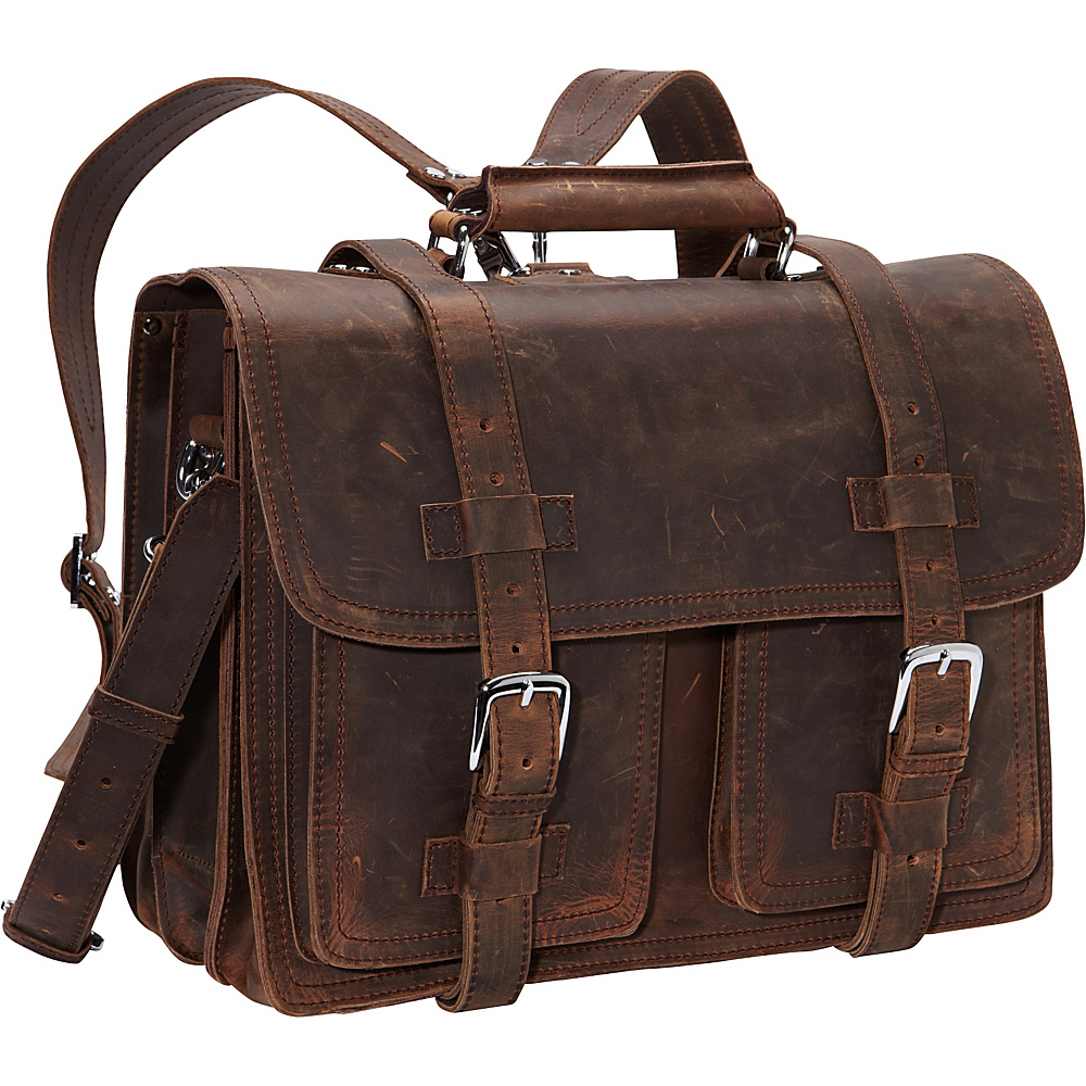 Vagabond Traveler CEO Full Leather Briefcase & Backpack Vintage Brown - Vagabond Traveler Non-Wheeled Business Cases - Work Bags & Briefcases, Non-Wheeled Business Cases