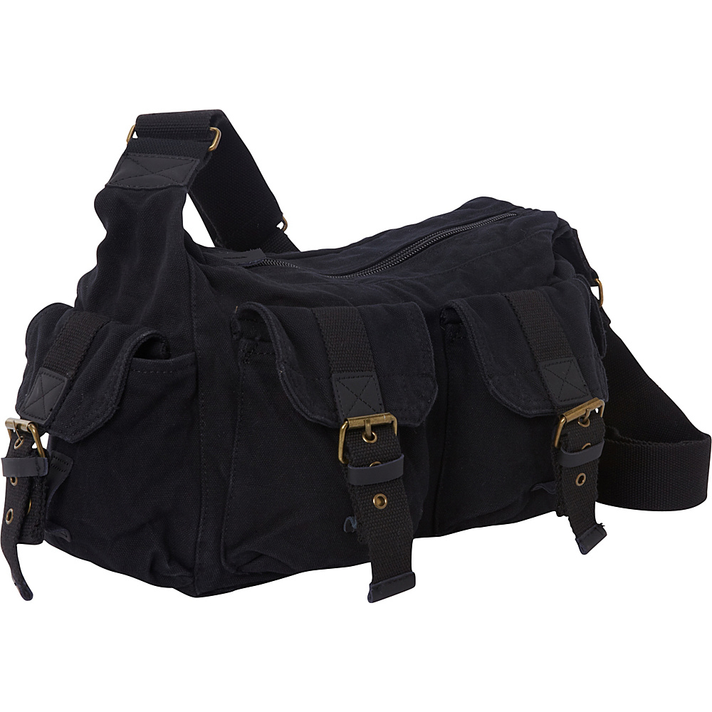 Vagabond Traveler Boat Style Canvas Messenger Bag Black - Vagabond Traveler Messenger Bags - Work Bags & Briefcases, Messenger Bags