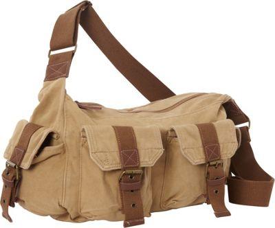 Vagabond Traveler Boat Style Canvas Messenger Bag Khaki - Vagabond Traveler Messenger Bags