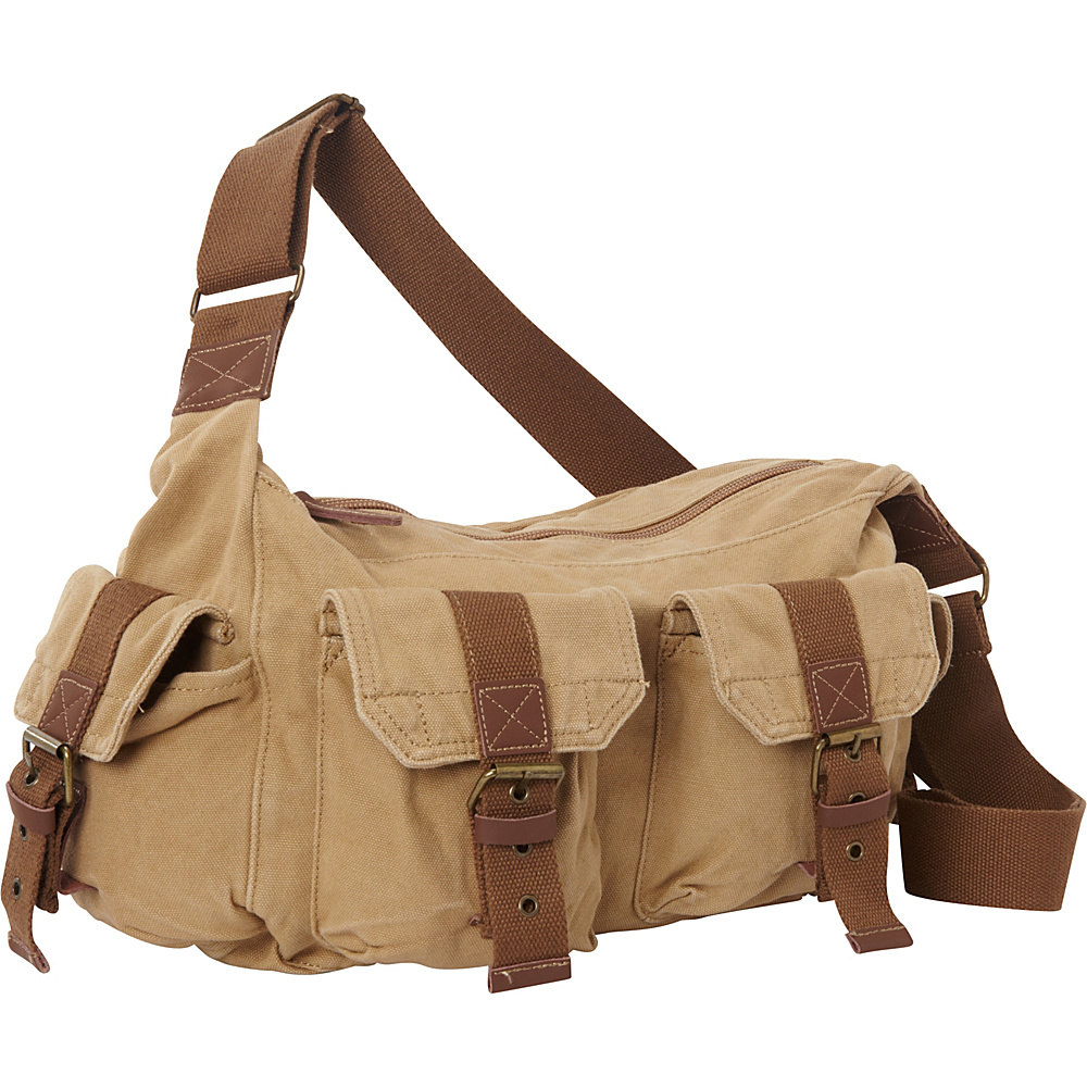 Vagabond Traveler Boat Style Canvas Messenger Bag Khaki Vagabond Traveler Messenger Bags