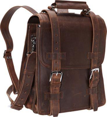 Vagabond Traveler 14 inch Leather Travel Backpack Brief Vintage Distress - Vagabond Traveler Non-Wheeled Business Cases