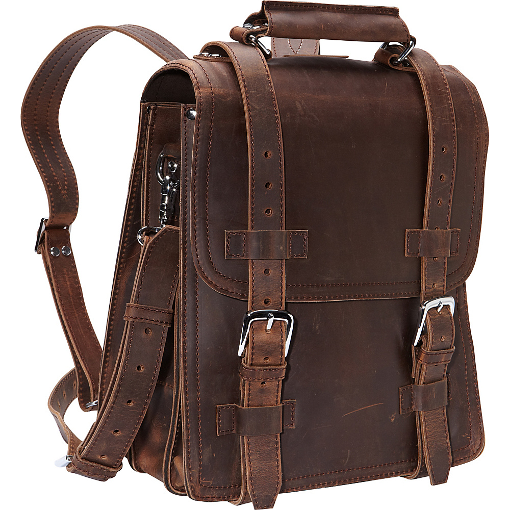 Vagabond Traveler 14 Leather Travel Backpack Brief Vintage Distress - Vagabond Traveler Non-Wheeled Business Cases - Work Bags & Briefcases, Non-Wheeled Business Cases