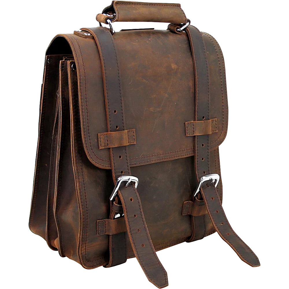 Vagabond Traveler 14 Leather Travel Backpack Brief Vintage Brown - Vagabond Traveler Non-Wheeled Business Cases - Work Bags & Briefcases, Non-Wheeled Business Cases