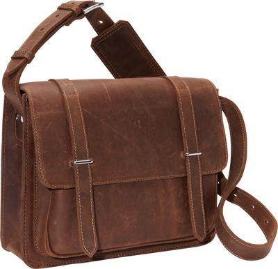 "Vagabond Traveler 14"" Leather Laptop Bag Vintage Distress..."