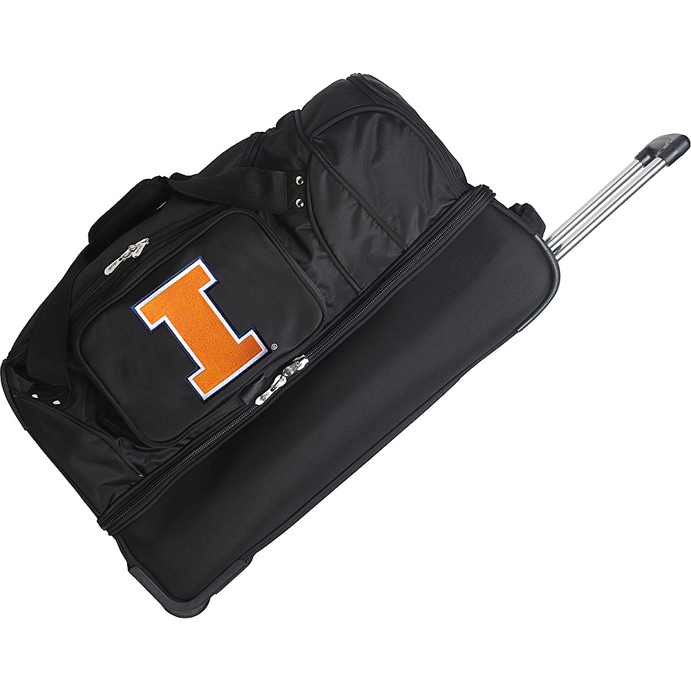 Denco Sports Luggage NCAA 27 Drop Bottom Wheeled Duffel Bag University of Illinois Fighting Illini - Denco Sports Luggage Travel Duffels - Duffels, Travel Duffels