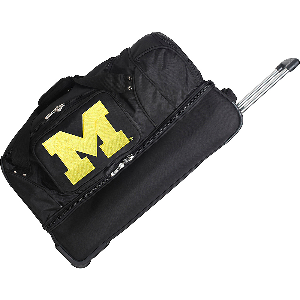 Denco Sports Luggage NCAA 27 Drop Bottom Wheeled Duffel Bag University of Michigan Wolverines - Denco Sports Luggage Travel Duffels - Duffels, Travel Duffels