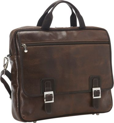 Piel Vintage Leather Laptop Business Case Vintage Brown - Piel Non-Wheeled Business Cases