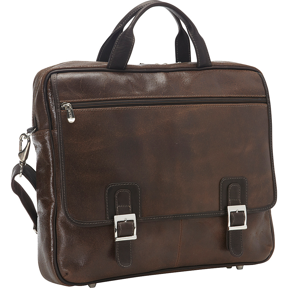 Piel Vintage Leather Laptop Business Case Vintage Brown - Piel Non-Wheeled Business Cases - Work Bags & Briefcases, Non-Wheeled Business Cases