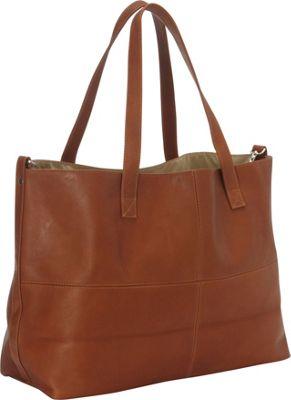 Piel Large Leather Multi-Purpose Open Tote Saddle - Piel Leather Handbags