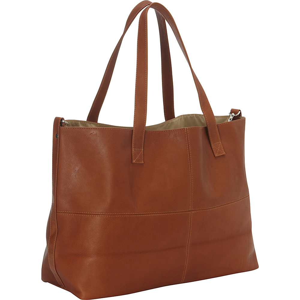Piel Large Leather Multi-Purpose Open Tote Saddle - Piel Leather Handbags - Handbags, Leather Handbags