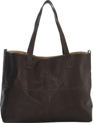 Piel Large Leather Multi-Purpose Open Tote Chocolate - Piel Leather Handbags