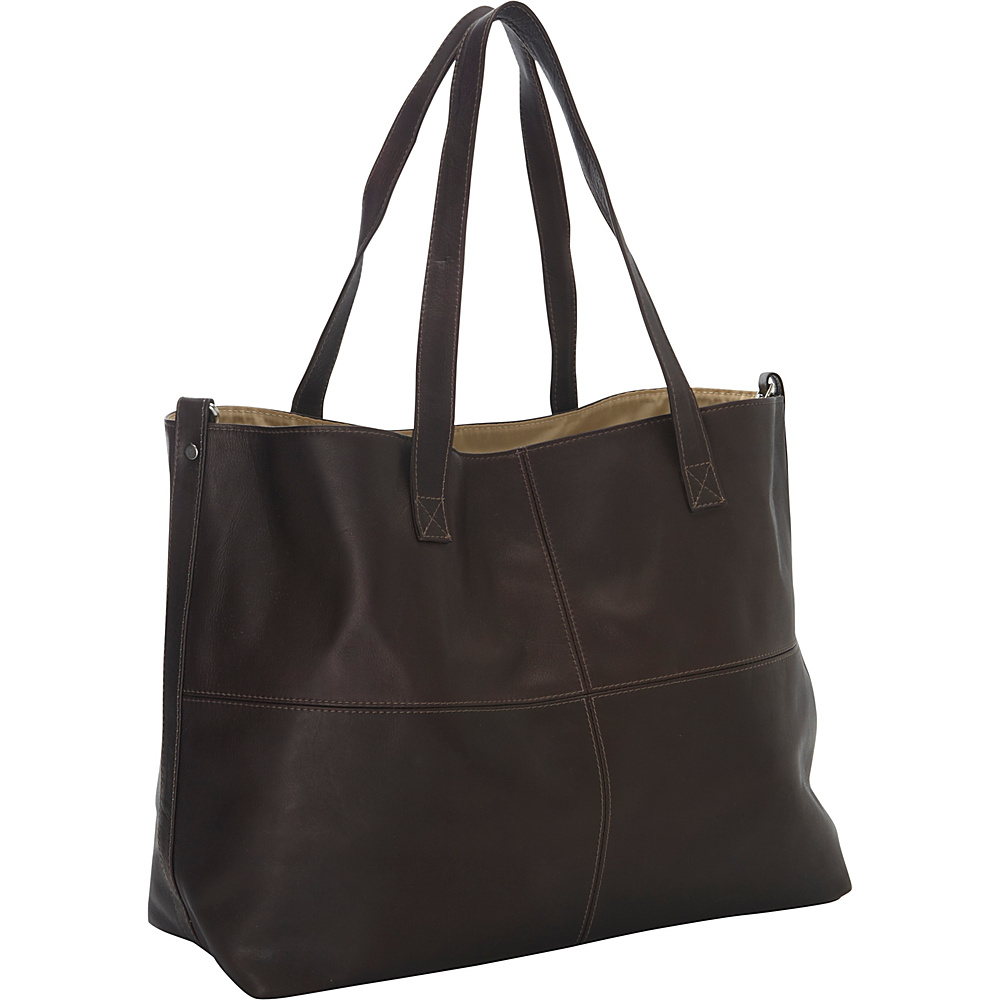 Piel Large Leather Multi-Purpose Open Tote Chocolate - Piel Leather Handbags - Handbags, Leather Handbags