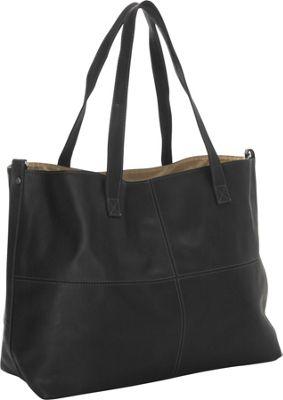 Piel Large Leather Multi-Purpose Open Tote Black - Piel Leather Handbags