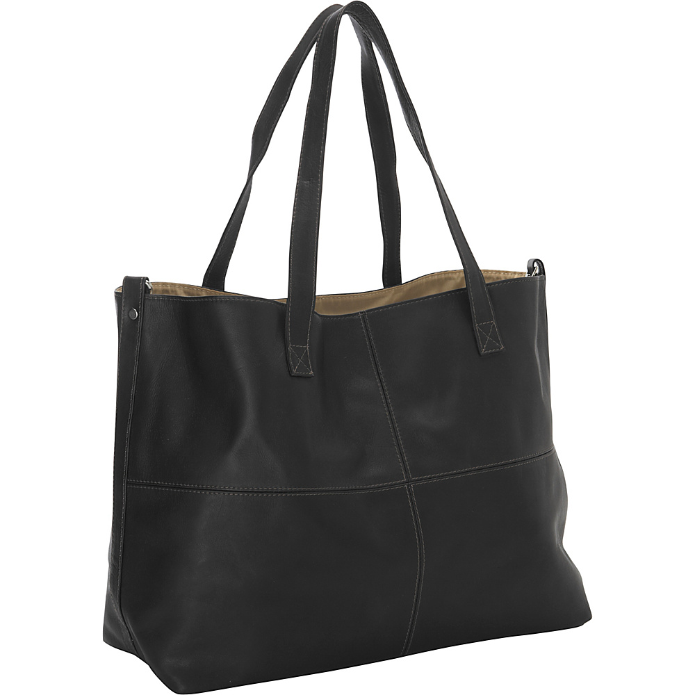 Piel Large Leather Multi-Purpose Open Tote Black - Piel Leather Handbags - Handbags, Leather Handbags