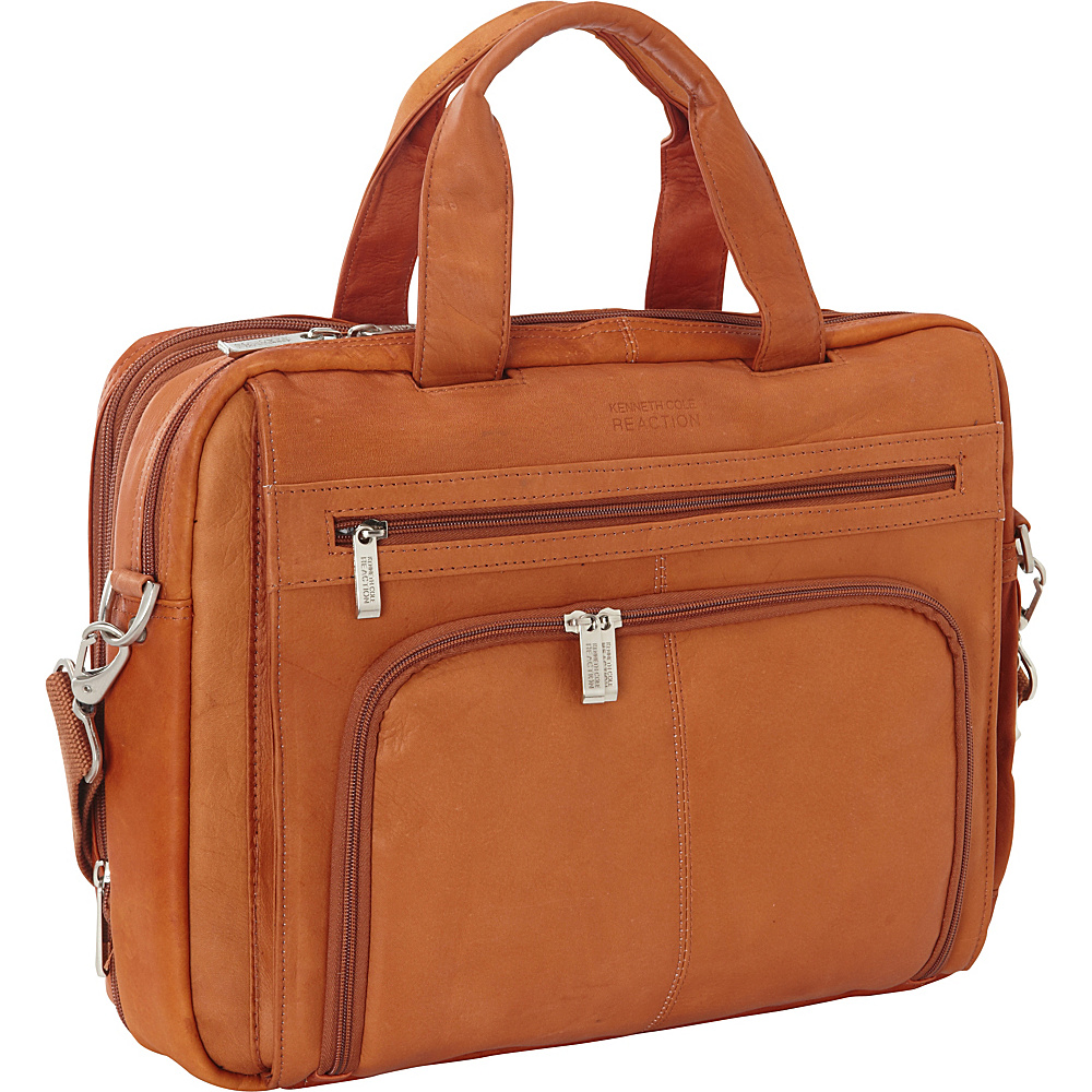 Kenneth Cole Reaction Colombian Leather Laptop Portfolio - EXCLUSIVE Cognac - Kenneth Cole Reaction Non-Wheeled Business Cases