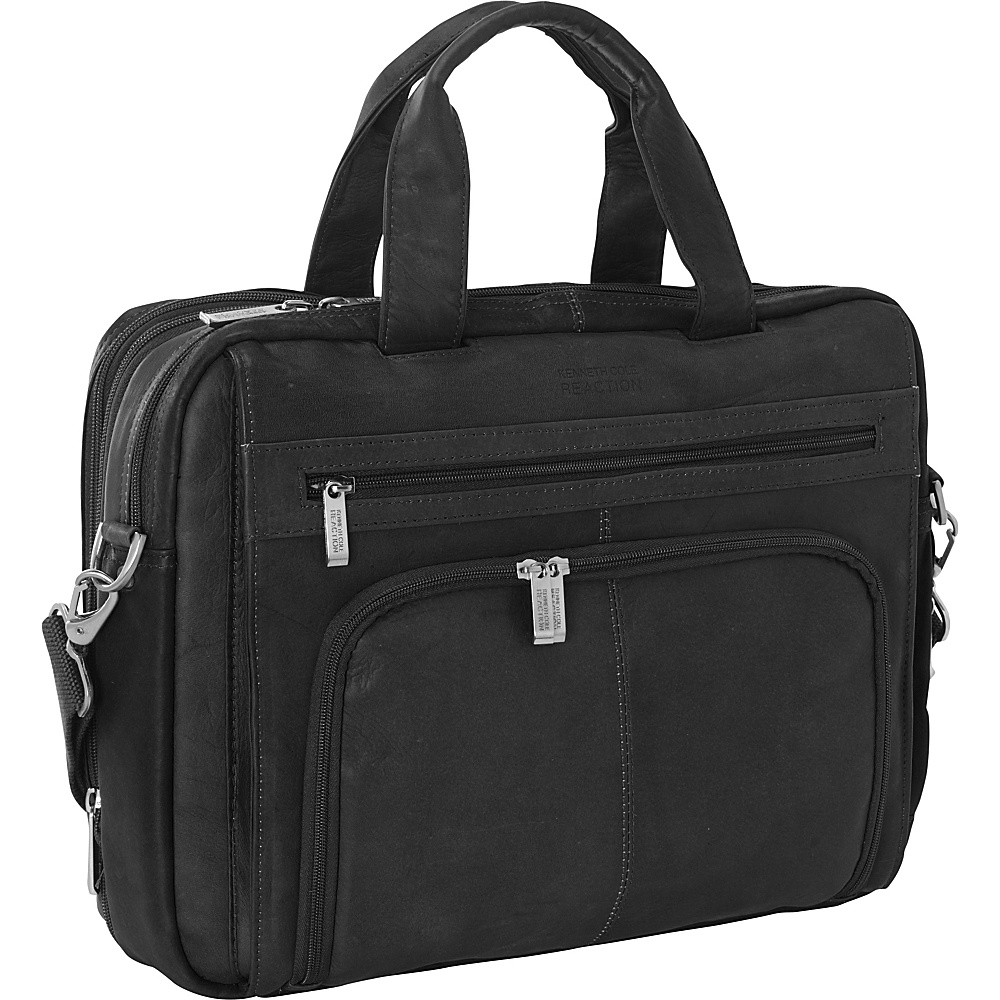 Kenneth Cole Reaction Colombian Leather Laptop Portfolio - EXCLUSIVE Black - Kenneth Cole Reaction Non-Wheeled Business Cases