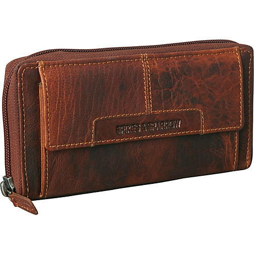 Jack Georges Spike & Sparrow Collection Zip-Around Clutch Brown - Jack Georges Ladies Clutch Wallets