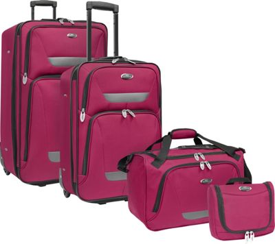 U.S. Traveler U.S. Traveler Westport 4-Piece Luggage Set Plum - U.S. Traveler Luggage Sets