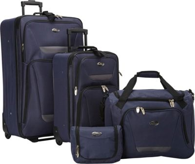 U.S. Traveler U.S. Traveler Westport 4-Piece Luggage Set Navy - U.S. Traveler Luggage Sets