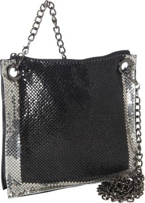 Whiting and Davis Contrast Edge Black/Pewter - Whiting and Davis Manmade Handbags