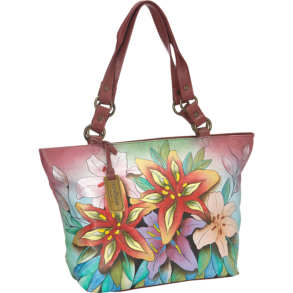 Anuschka Classic Large Tote Luscious Lilies - Anuschka Leather Handbags