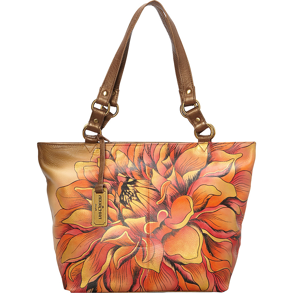 Anuschka Classic Large Tote Dreamy Dahlias Bronze - Anuschka Leather Handbags