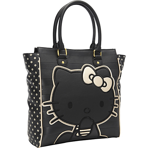 Loungefly Hello Kitty Black/Gold Emboss Stripe Double Handle Bag Black/Grey - Loungefly Manmade Handbags