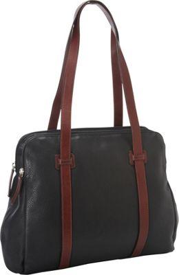 Derek Alexander Twin Top Zip Black/Brandy - Derek Alexander Leather Handbags