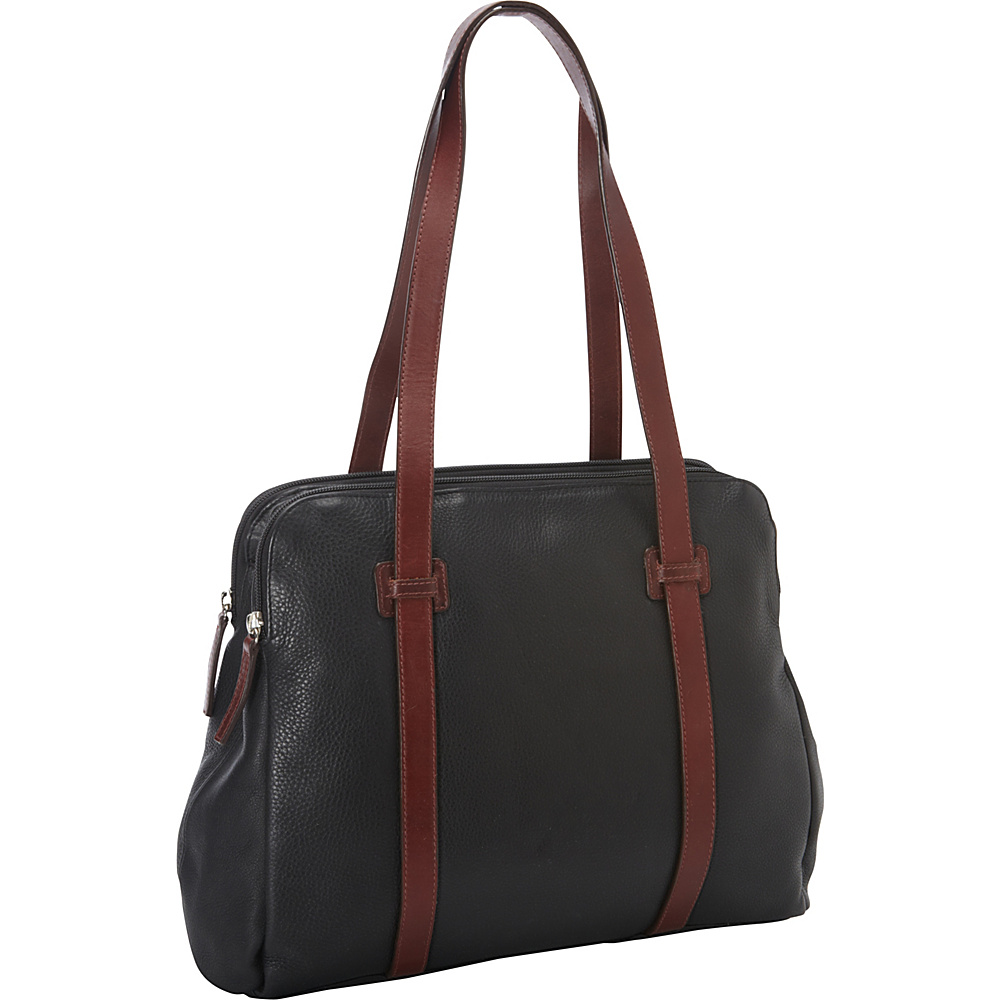 Derek Alexander Twin Top Zip Black/Brandy - Derek Alexander Leather Handbags - Handbags, Leather Handbags
