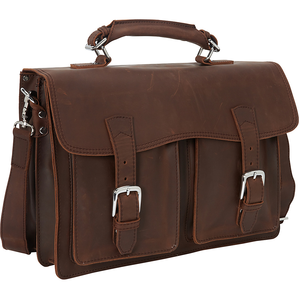 Vagabond Traveler 16.5 Cowhide Leather Pro Briefcase Laptop Case Reddish Brown - Vagabond Traveler Non-Wheeled Business Cases - Work Bags & Briefcases, Non-Wheeled Business Cases