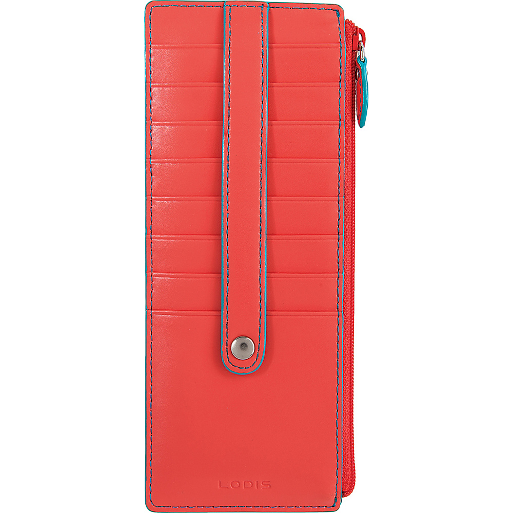 Lodis Audrey Credit Card Case with Zip Pocket - Fashion Colors Coral/Turquoise - Lodis Womens Wallets - Women's SLG, Women's Wallets