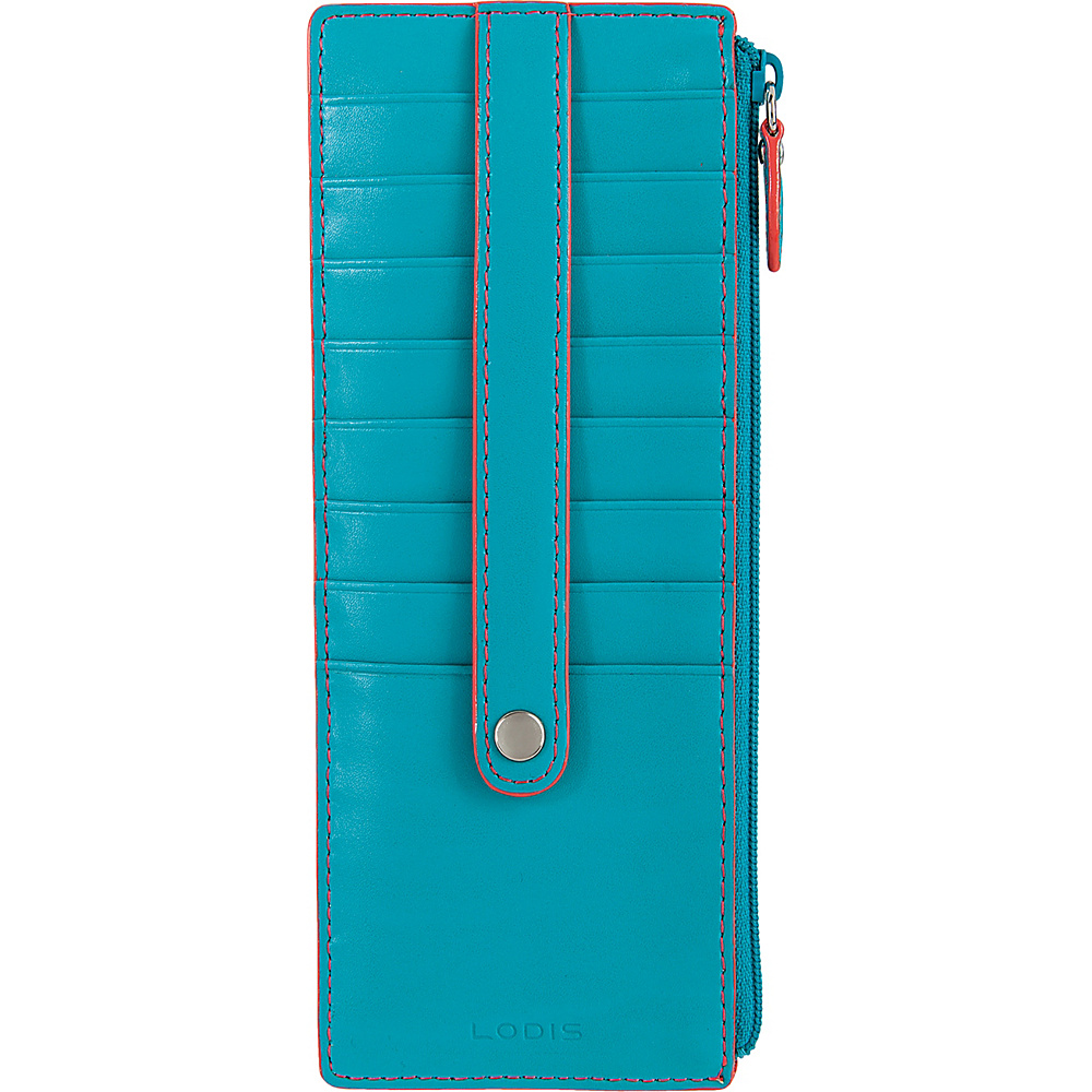 Lodis Audrey Credit Card Case with Zip Pocket - Fashion Colors Turquoise/Coral - Lodis Womens Wallets - Women's SLG, Women's Wallets