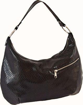 Brynn Capella Pamela Exotic Hobo Onyx - Brynn Capella Leather Handbags