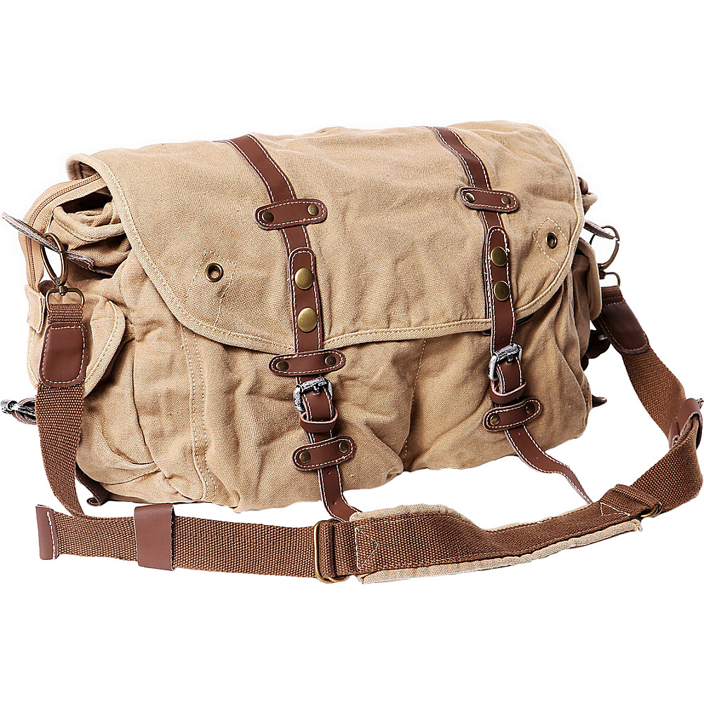 Vagabond Traveler Large Casual 17 Messenger Shoulder Bag Khaki - Vagabond Traveler Messenger Bags - Work Bags & Briefcases, Messenger Bags