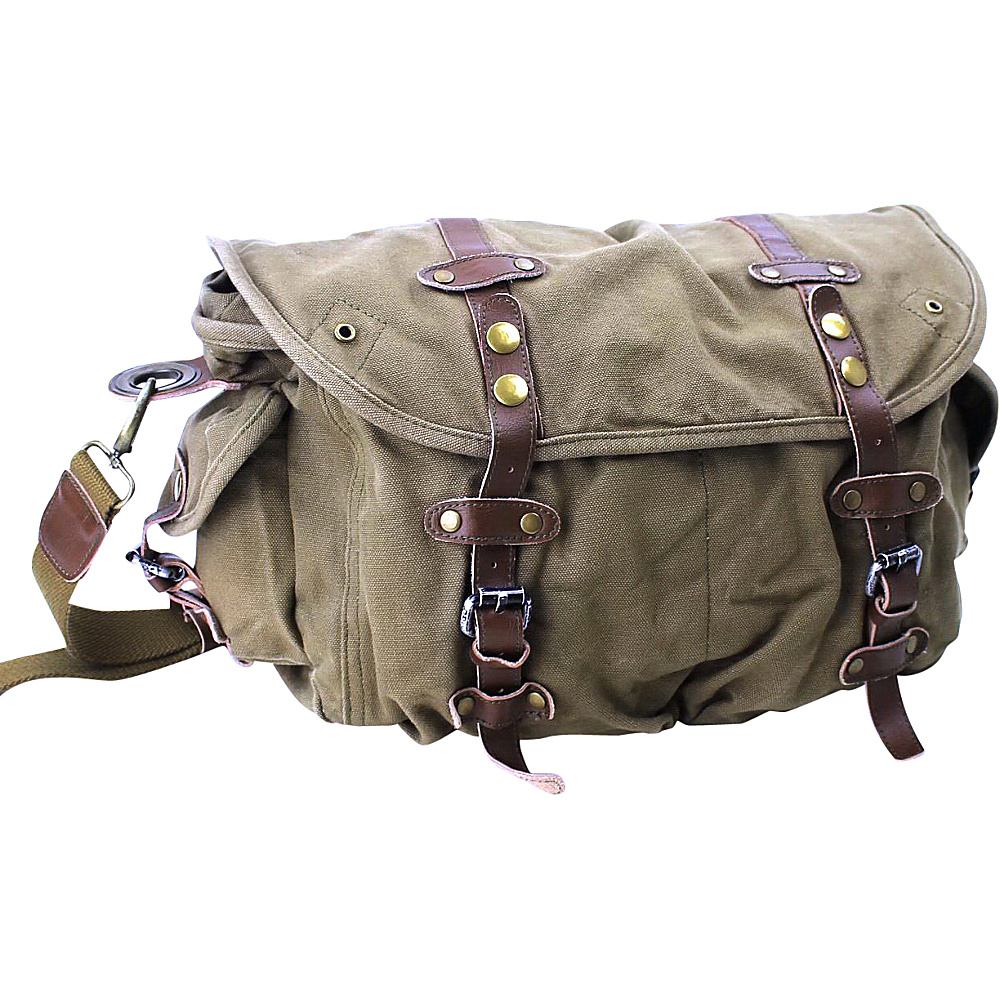 Vagabond Traveler Large Casual 17 Messenger Shoulder Bag Military Green Vagabond Traveler Messenger Bags