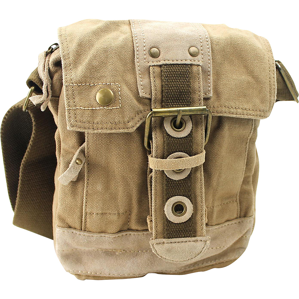 Vagabond Traveler Tall 9 Small Satchel Shoulder Bag Khaki - Vagabond Traveler Slings - Backpacks, Slings