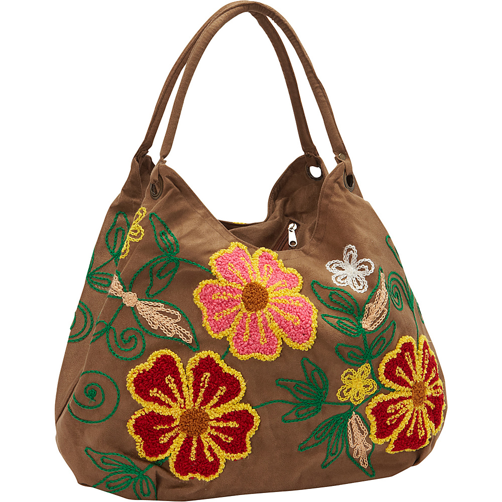 Bamboo 54 Hobo Embroidered Bag Tan - Bamboo 54 Fabric Handbags