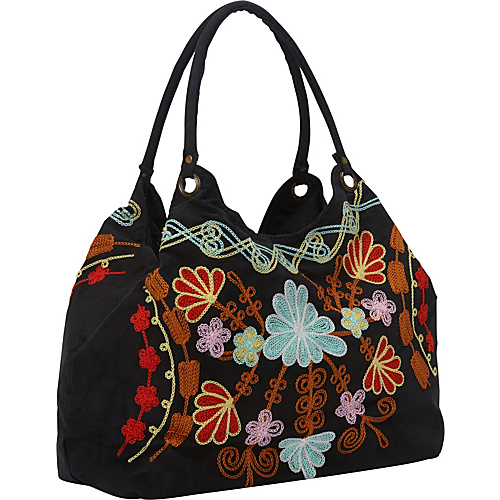 Bamboo 54 Hobo Embroidered Bag Black - Bamboo 54 Fabric Handbags