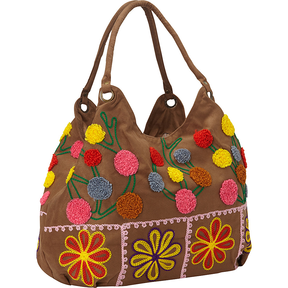 Bamboo 54 Hobo Embroidered Bag Tan Dots - Bamboo 54 Fabric Handbags